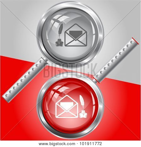 mail with feather and inkstand . Vector magnifying glass.
