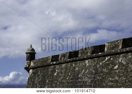Castle Wall, Sky And Sentry Box In San Juan, Puerto Rico
