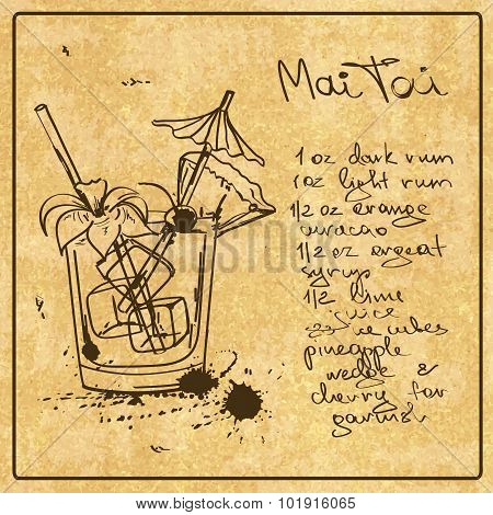 Hand Drawn Mai Tai Cocktail