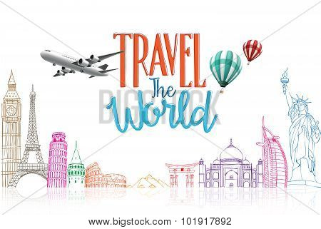 Travel The World Title Concept Design Background of Line Drawing of Famous Landmarks in White Background. Vector Illustration poster