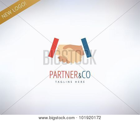 Human hands vector logo icon. Relations, friends, meeting and business symbol. Stock design element.