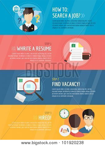 Job search after university infographic . Students, labor, searching and professions. Vector stock illustration for design