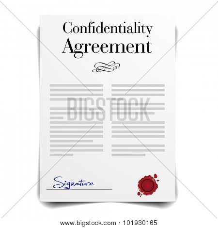 detailed illustration of a Confidentiality Agreement Letter, eps10 vector