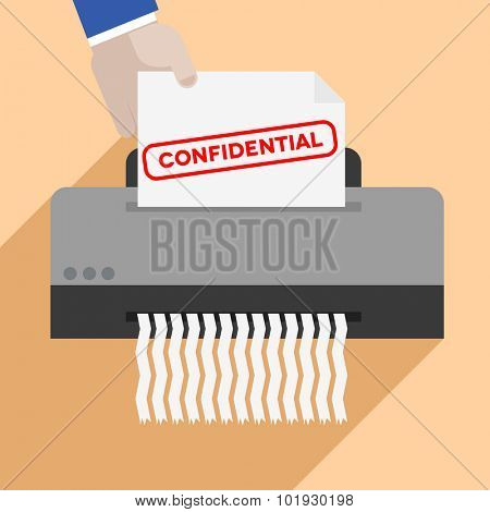 minimalistic illustration of a hand putting a letter with Confidential text into a paper shredder, eps10 vector