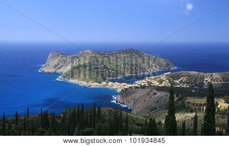 The Village Of Assos On The Island Of Cephalonia
