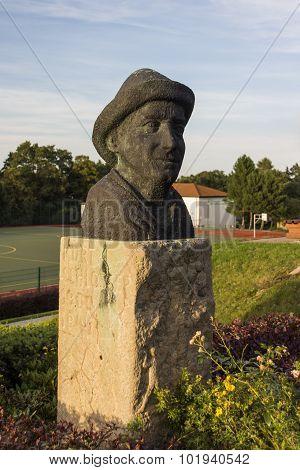 Kurt Schlosser Statue At The Sportschule In Werdau, Germany, 2015