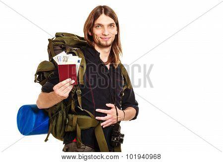 Man Tourist Backpacker Holding Money And Passport