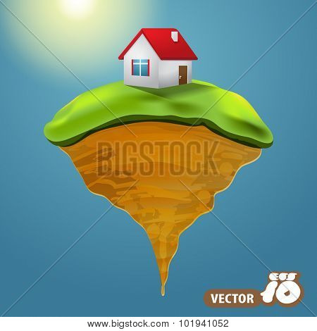 Small House On Green Islet