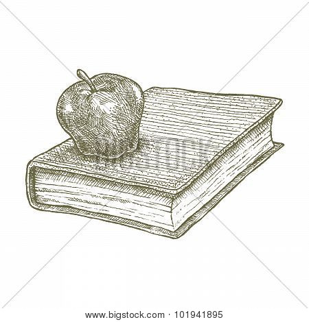 Apple on book drawing, school concept