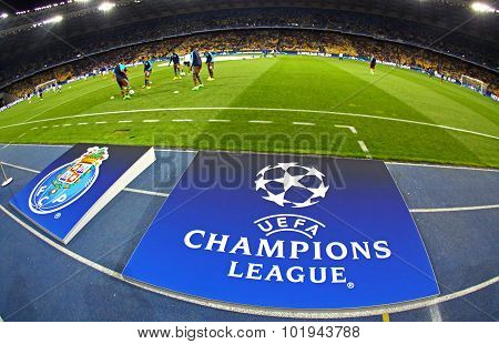 Board With Uefa Champions League Logo On The Ground