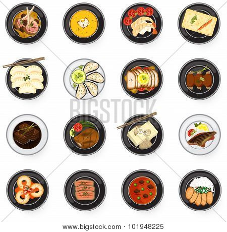 International Cuisine Gourmet Food From Asian To American And Europe Serve As Main Dish In Restauran