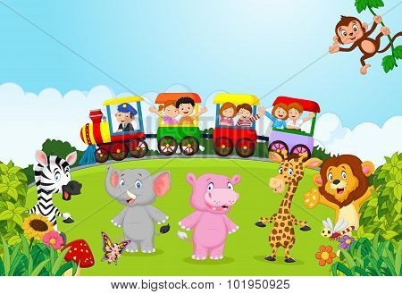 Happy kids on a colorful train with animal