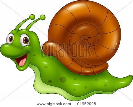 Cute cartoon snail on white background
