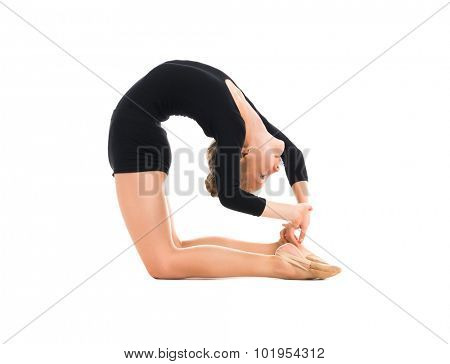 little gymnast doing exercise with skipping rope isolated on white background poster
