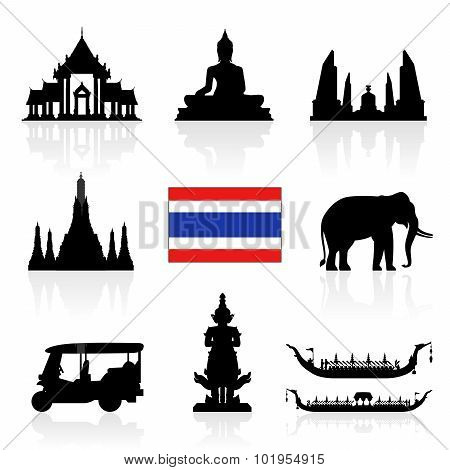 Thailand Landmarks Icon Set.