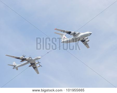 Il-78 And Tu-95 In The Sky