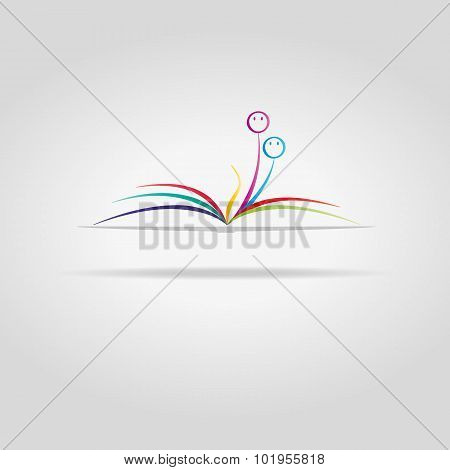 Abstract Open Book With Faces