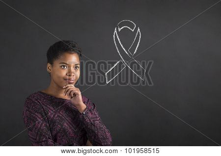 African American Woman With Hand On Chin Thinking About Illness Awareness  On Blackboard Background