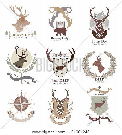 Set hunting club logo, emblem, illustration in vector format for web, print. Labels and Design eleme
