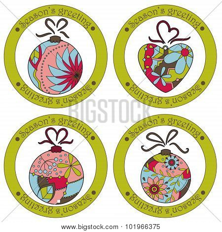 Seasons Greeting Stickers With Christmas Toys