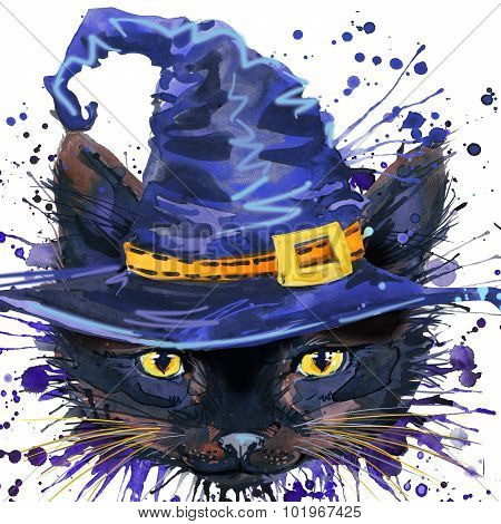 Halloween cat witch . Watercolor illustration background for the holiday Halloween. watercolor splas
