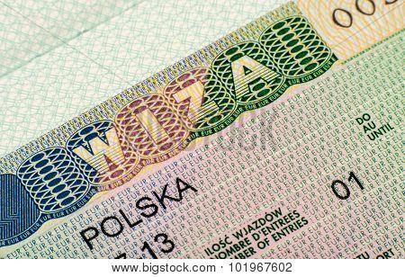 The page with  Schengen Visa (polish version)