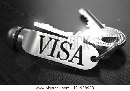 Visa Concept. Keys with Keyring.