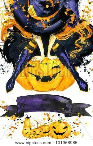 Girl witch and Halloween pumpkin for Halloween holiday. Halloween festival watercolor Hand Painted B