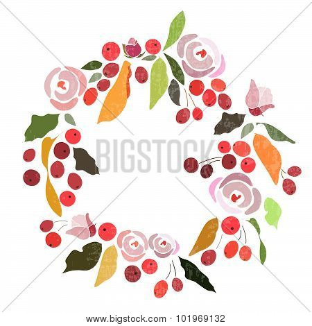 Autumn/winter Wedding Floral Wreath With Flowers