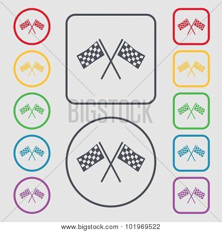 Race Flag Finish Icon Sign. Symbols On The Round And Square Buttons With Frame. Vector