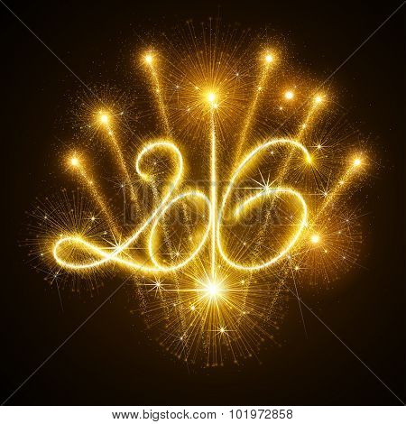 New Year fireworks and confetti 2016. Vector illustration.
