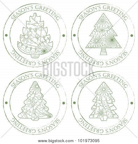 Season's Greeting Stamps With Christmas Trees Vintage