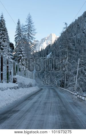 Icy Road, Northern Italy
