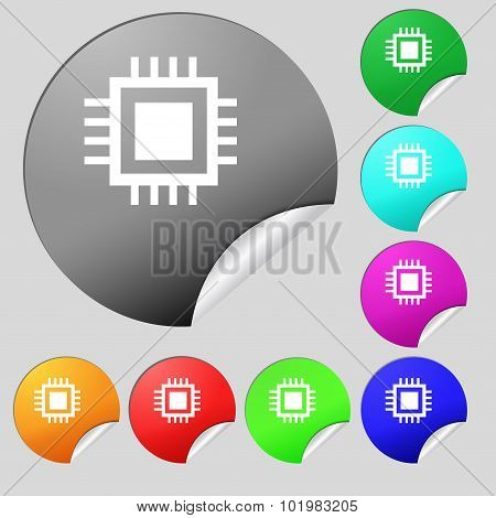 Central Processing Unit Icon. Technology Scheme Circle Symbol. Set Of Eight Multi Colored Round Butt