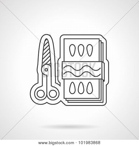 Scissors and paper flat line vector icon