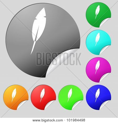 Feather Sign Icon. Retro Pen Symbo. Set Of Eight Multi Colored Round Buttons, Stickers. Vector