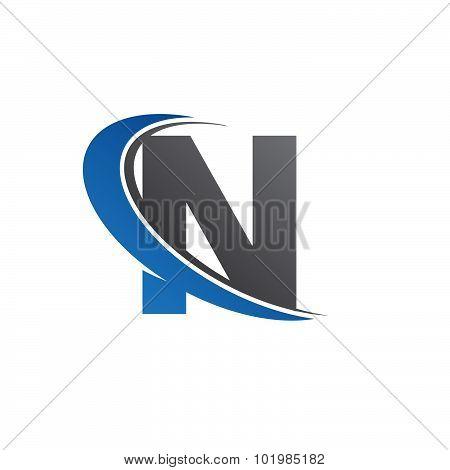 Blue letter N swoosh logo icon design poster