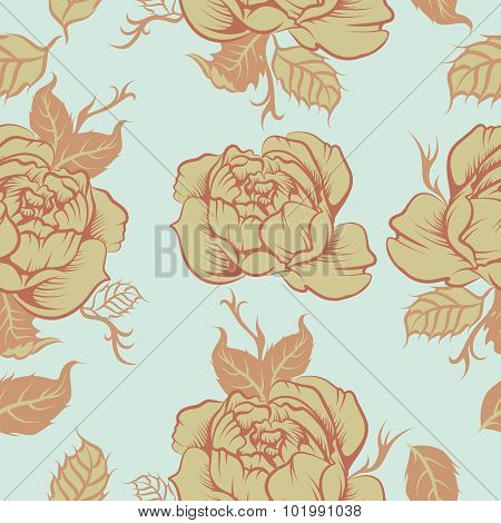 Seamless floral vector pattern in blue color