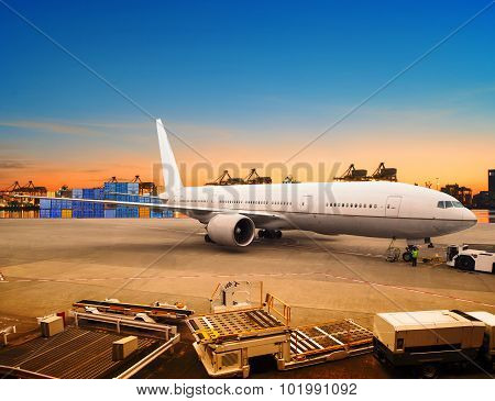 Air Freight And Cargo Plane Loading Trading Goods In Airport Container Parking Lot Use For Shipping