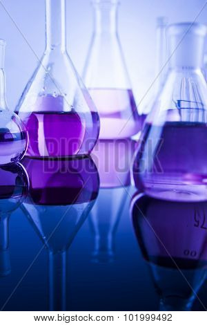 Chemistry science, Laboratory glassware background poster