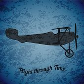 Vector retro airplane WW1 on blue grunge highlight background poster