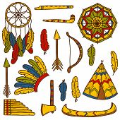 Set of cartoon hand drawn objects on native american theme: tomahawk, feather, canoe, bow, arrow, hat, mandala, flute, pipe, dreamcatcher. Native american concept for your design poster