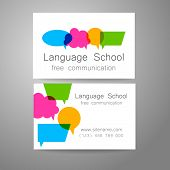 Language school logo - a design template. The idea of the design mark for the school, courses, speaking club, linguistic center, translation agency. Design brand business card. poster