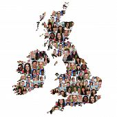 Great Britain and Ireland map multicultural group of young people integration diversity isolated poster