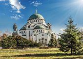 Belgrade (Beograd), Saint Sava Cathedral (Hram Svetog Save) and Monument of Karageorge Petrovitch (Karadjordje Petrovic) poster