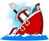 This illustration depicts a captain at the front of a sinking boat. poster