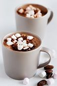 Cup of hot chocolate cocoa drink with marshmallows, milky choc dessert beverage poster