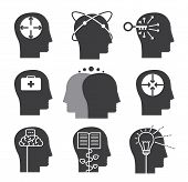 Human thinking icons set of mental abilities poster