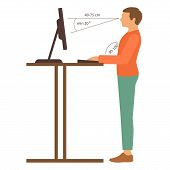 correct back position, vector illustration right  person posture poster