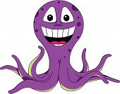 vectorized smiling purple cartoon octopus, illustrator 8 compatible poster